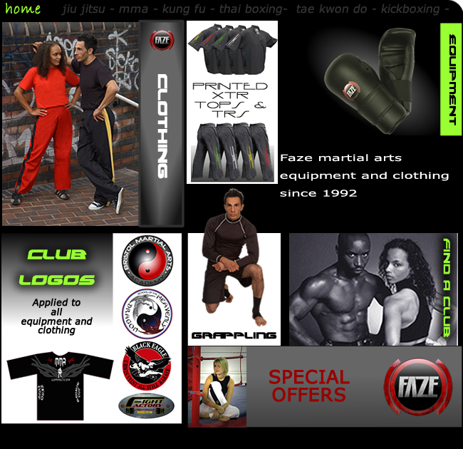 faze martial arts supply of excellent quality equipment with additional cutting edge print service 0121 354 9520